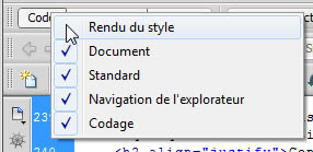 Barre d'outils codage Dreamweaver